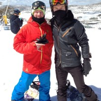 Local rider Nathan Louis and Shaun White at Perisher
