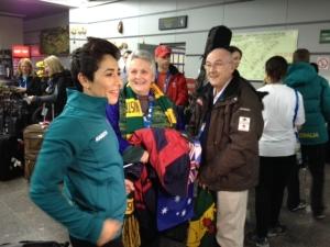 Shane and Margaret Morris greet Lydia Lassila in Sochi. Photo credit: David Morris