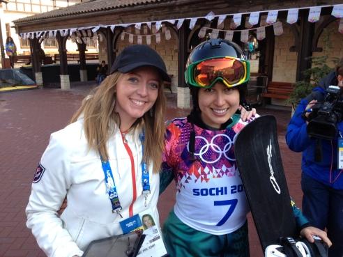Natalie Peters & Belle Brockhoff after her SBX race in Sochi