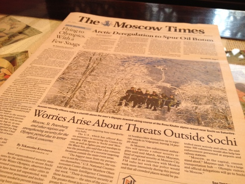 Moscow Times cover page. Photo credit: Natalie Peters