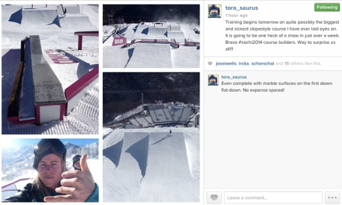 @tora_saurus instagram pic of the slope style course at Sochi