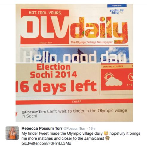 Possum Torr's Tinder tweet makes the Athlete Village Daily News