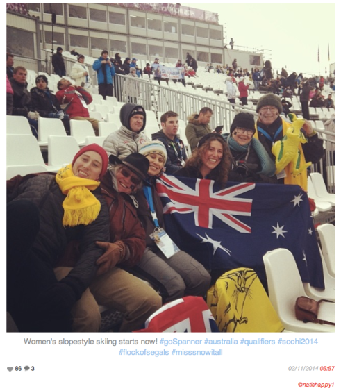 A flock of Segals at Sochi cheering on 'our Anna'. Photo credit: @natishappy1 instagram